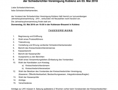 Vorabinformation zur JHV Schiedsrichtervereinigung Koblenz am 03.05.2018